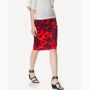 Zara Woman red and dark purple flower pencil skirt